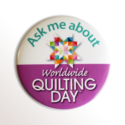"3"" Round Employee Buttons - Worldwide Quilting Day"