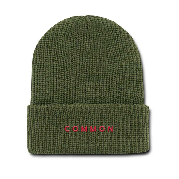 COMMON CULTURE 'COMMON' OLIVE BEANIE