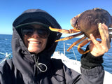 Melissa Mahoney with a crab