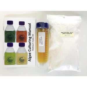 Spirulina culturing kit, salts, nutrients, and instructions.
