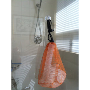 I have collected bathtub appropriate REAL LABORATORY EQUIPMENT and put it into a hanging mesh bag.