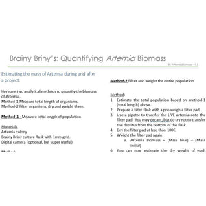 Brainy Briny's Estimating Brine Shrimp (Artemia) Biomass