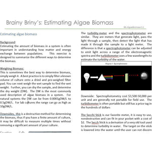 Brainy Briny's:  Estimating Algae Biomass