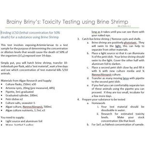Brainy Briny:  Toxicity Testing using Brine Shrimp- Finding a Lethal Concentration-50%