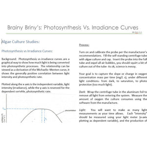 Brainy Briny's:  Photosynthesis vs Irradiance Curve Instructions