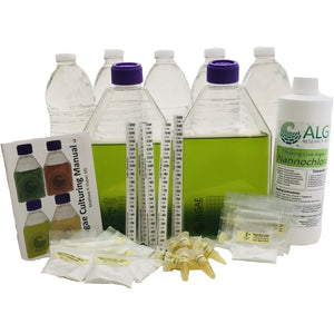 Algae and zooplankton culture kit. Includes nannochloropsis, culture flasks, nutrients, salts, brine shrimp cysts, secchi sticks, and algae culture manuals.