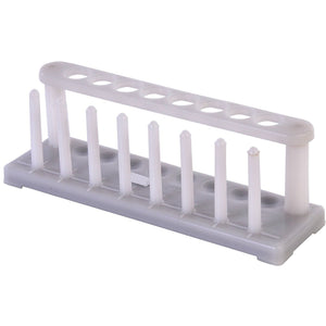 TEST TUBE RACK POLYETHYLENE Stout, white, in line, for 8 tubes, holes in the top plate correspond with hemispherical depressions in the base