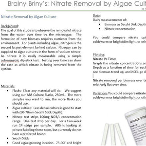 Brainy Briny's Lessons:  Nitrate Removal by Algae Culture