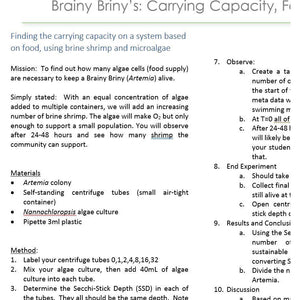 Brainy Briny:  Carrying Capacity Based on Food Availability