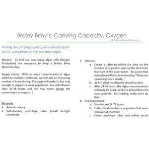 Brainy Briny's:  Carrying Capacity of a System Based on Oxygen Limitation