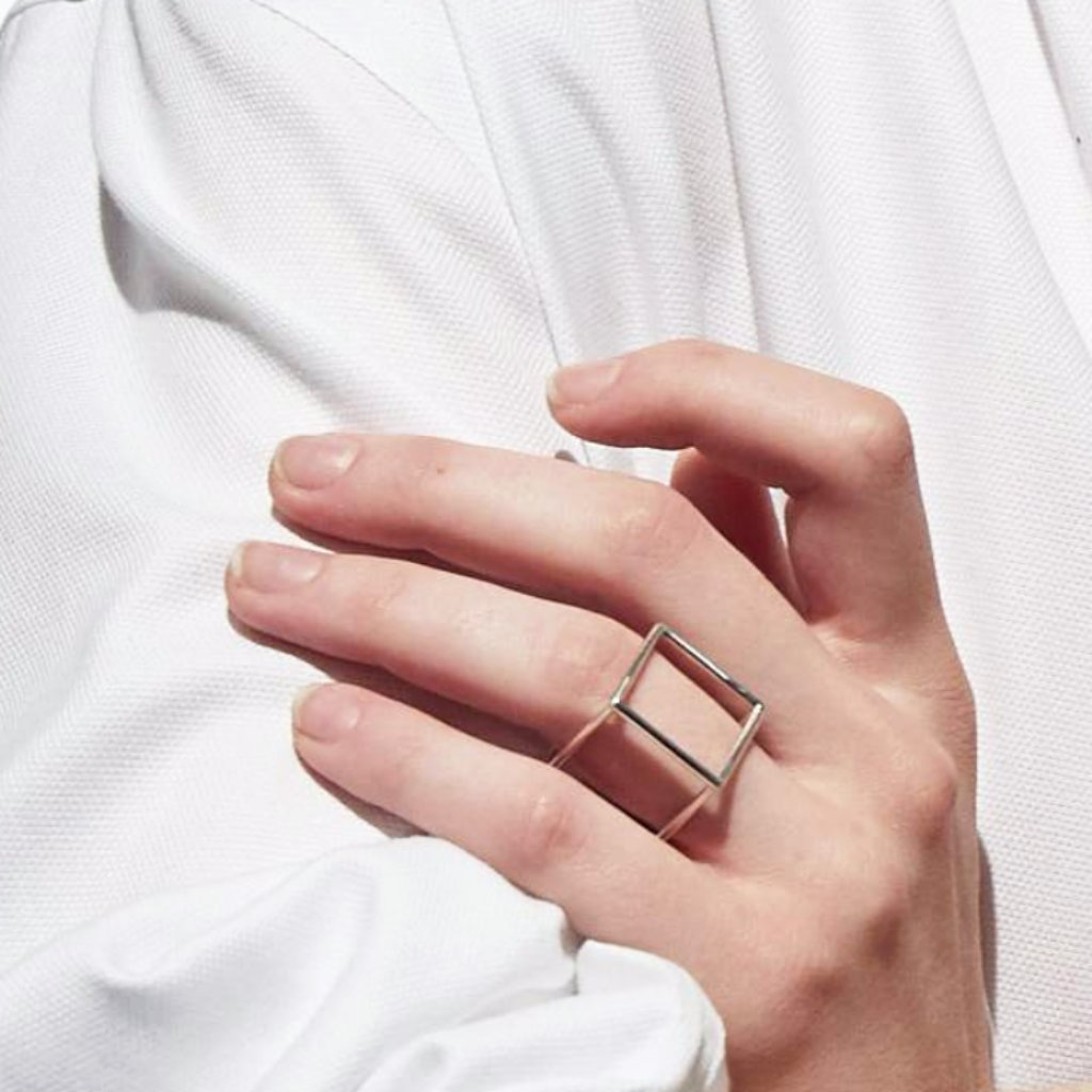 Silver Cube necklace & ring - Filia Rex