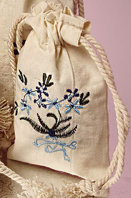Botanical Embroidered Cotton Muslin Pouches - sagebleu