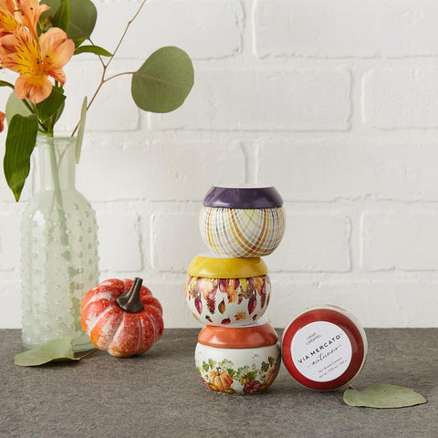 Via Mercato Autunno Holiday Soy Blend Candle Tin, Lot of 4