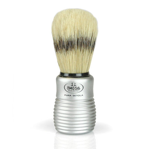 Pré de Provence Men's Boar Bristle Shave Brush with Aluminum Handle for Quick Lather