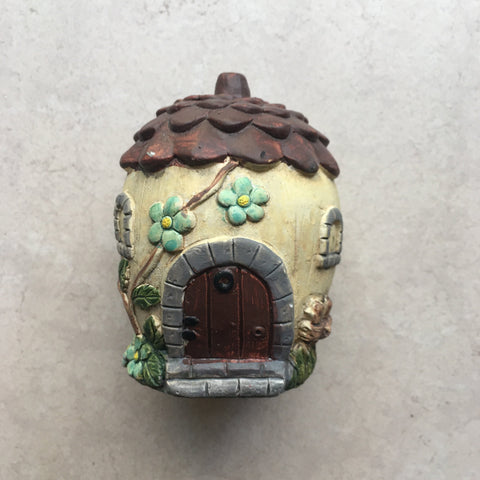 "Fairy Mini House Garden Deco Or Terrarium, Cement, Indoors or Outdoors, 4"" Tall"