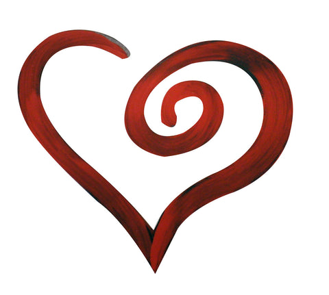 Swirl Shaped Heart Hand Painted Wall Decor