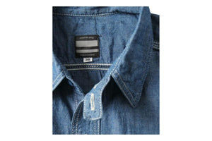 5oz Selvedge Chambray Work Shirt Blue-Momotaro-MILWORKS