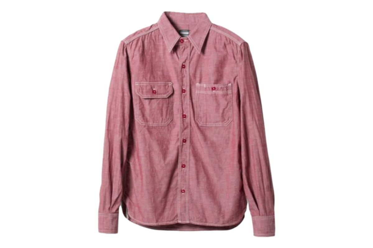 5oz Selvedge Chambray Work Shirt Red-Momotaro-MILWORKS