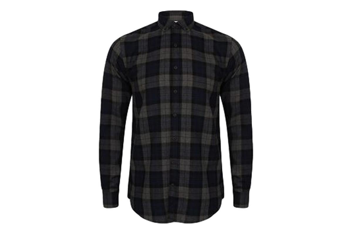 Milworks Brushed Check Shirt Navy