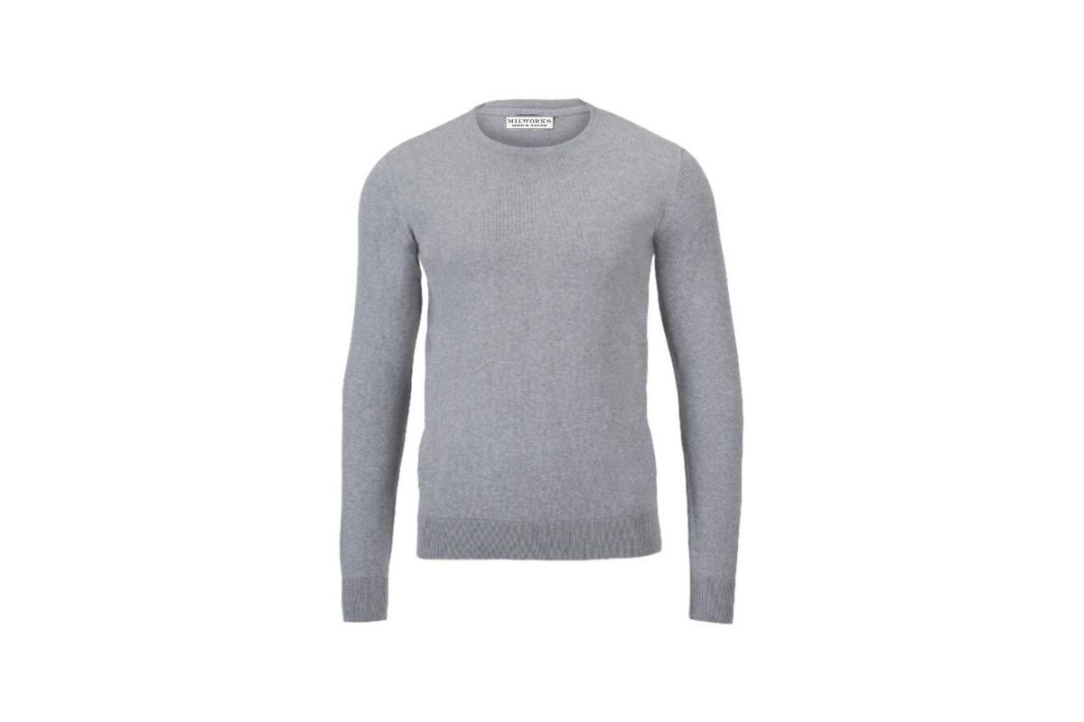Milworks Cotton Crew Neck Sweater Ash Grey