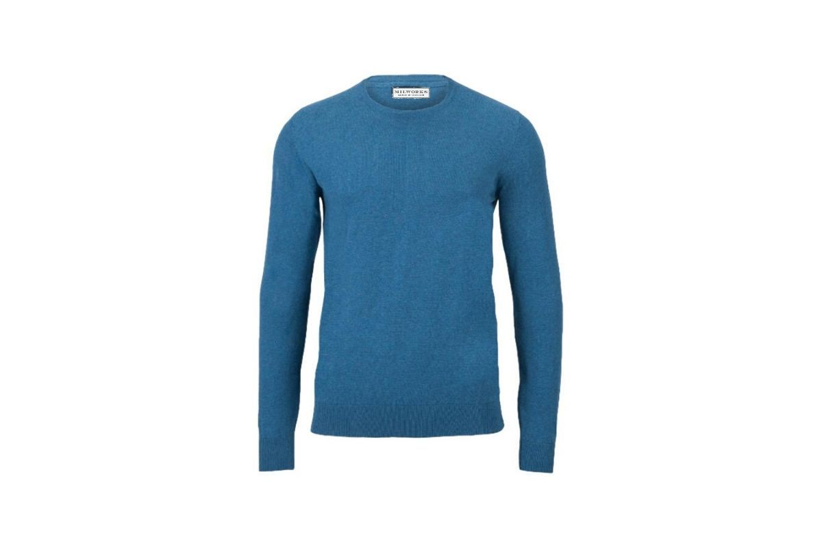 Milworks Cotton Crew Neck Sweater Moroccan Blue