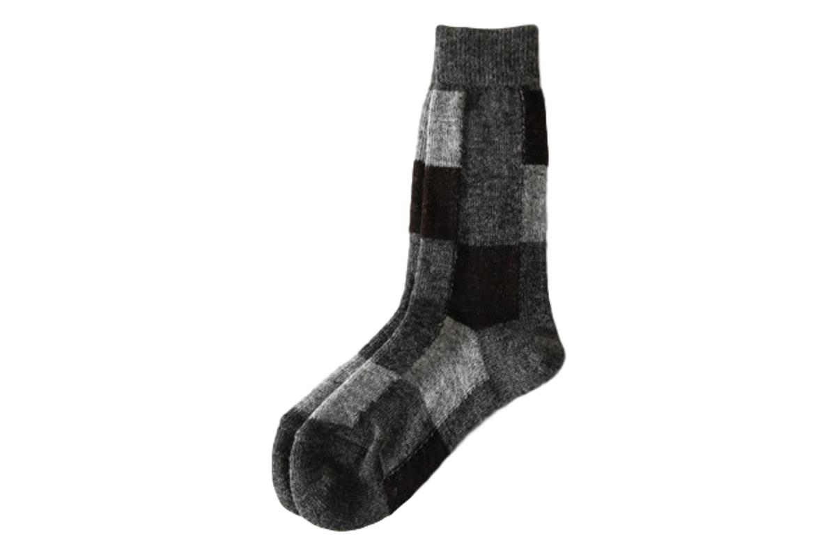 Restfolk Grey Patchwork Wool Socks