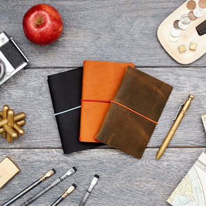Leather Jacket - Chestnut/Red-Word. Notebooks-MILWORKS