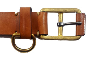 Yuketen Stitched D-Ring Belt Buck Brown
