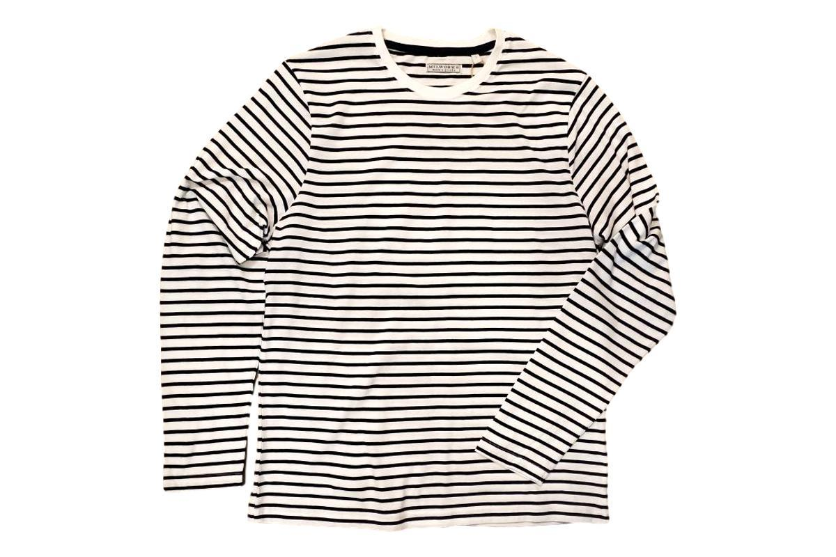 Striped Long Sleeve T-Shirt White Navy-Milworks-MILWORKS