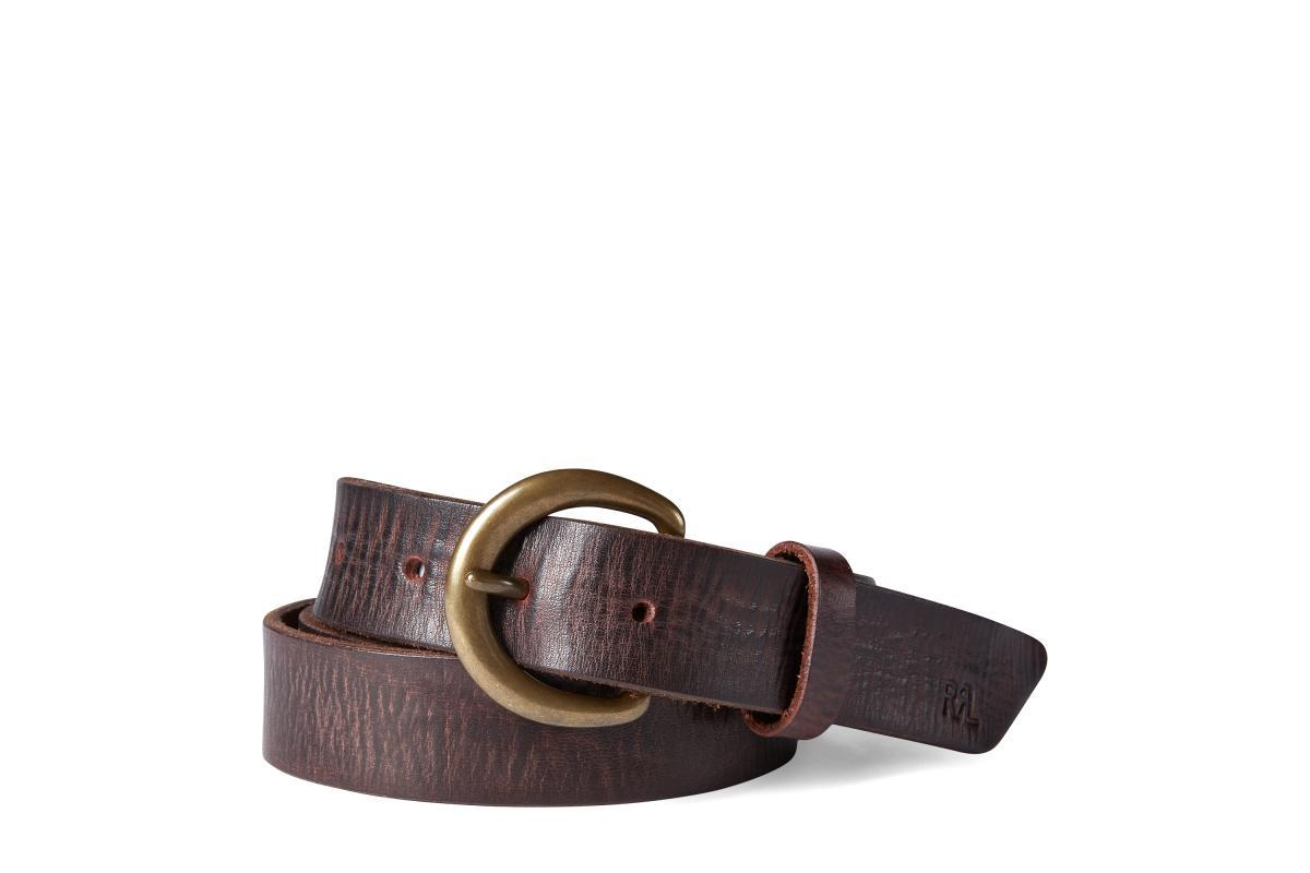 RRL Terrance Tumbled Leather Belt in Brown