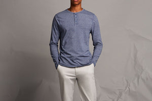 Three Button Henley Blue Marl-Milworks-MILWORKS