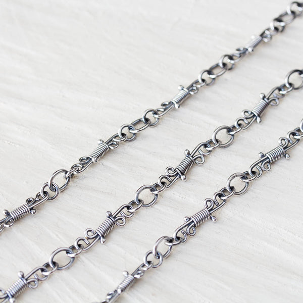Handmade Wire Wrapped Silver Links Chain, Sterling Silver