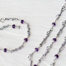 Load image into Gallery viewer, Amethyst Chain Necklace With Unique Wire Wrapped Links, Sterling silver - jewelry by CookOnStrike