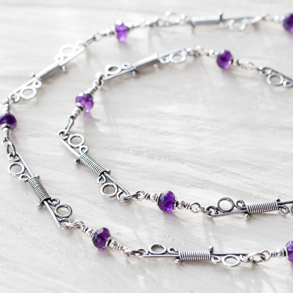 Amethyst Chain Necklace With Unique Wire Wrapped Links, Sterling silver - jewelry by CookOnStrike
