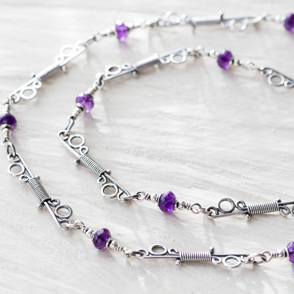 Amethyst Chain Necklace With Unique Wire Wrapped Links, Sterling silver