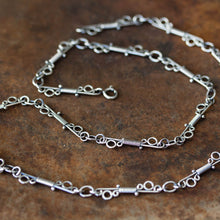 Load image into Gallery viewer, Unusual Wire Wrapped Sterling Silver Link Chain Necklace - jewelry by CookOnStrike