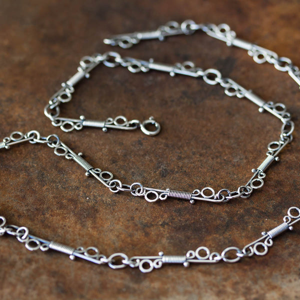 Unusual Wire Wrapped Sterling Silver Link Chain Necklace