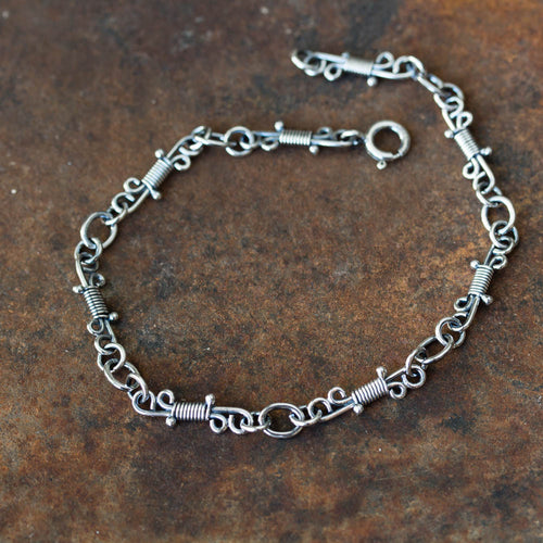Artisan Wire Wrapped Chain Link Bracelet, Sterling Silver - jewelry by CookOnStrike