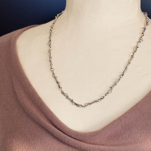 Unusual Wire Wrapped Sterling Silver Link Chain Necklace - jewelry by CookOnStrike