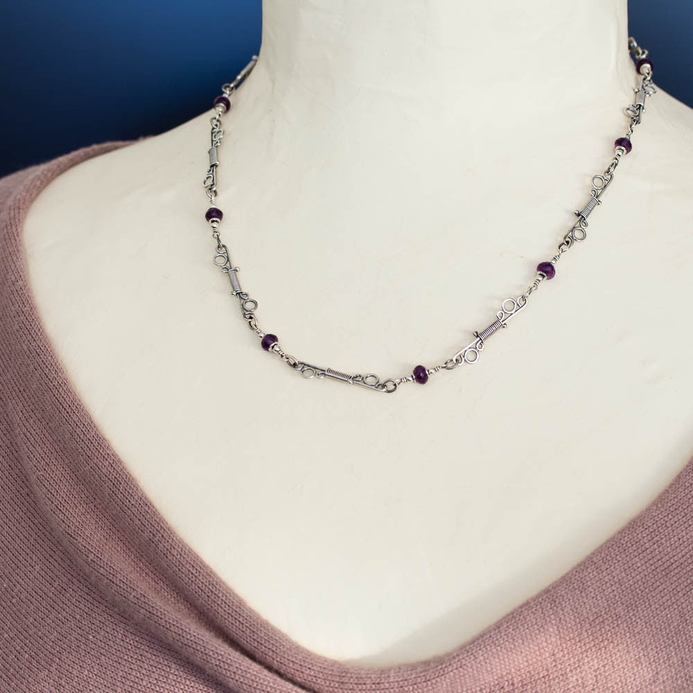 Unique Amethyst Chain Necklace, Wire Wrapped Sterling Silver links ...