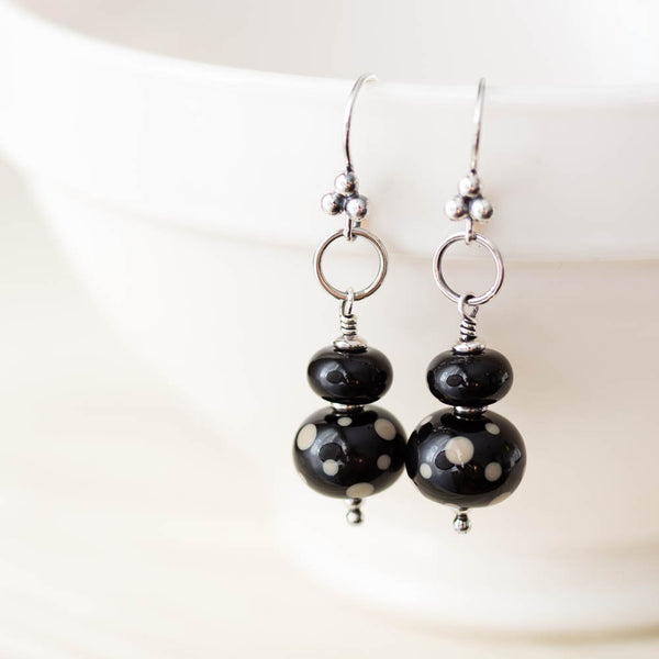Black Stacked Bead Lampwork Earrings, Sterling silver - CookOnStrike
