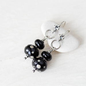 Black Stacked Bead Lampwork Earrings, Sterling silver - jewelry by CookOnStrike