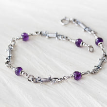 Load image into Gallery viewer, Dainty Amethyst Link Bracelet, Sterling Silver Chain - jewelry by CookOnStrike