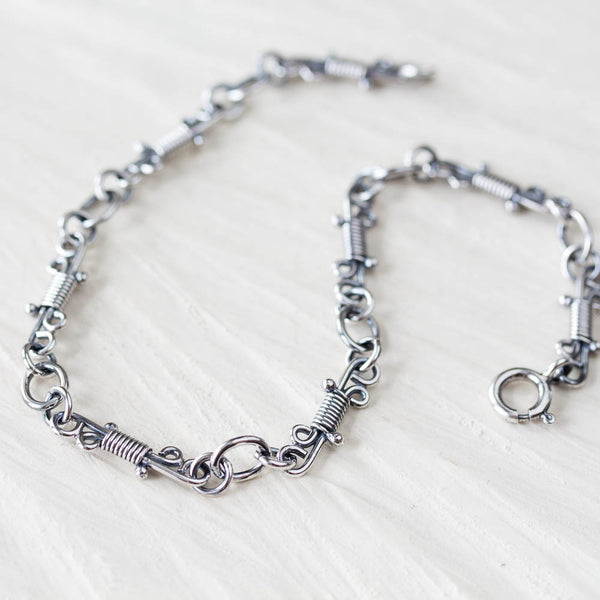 Artisan Wire Wrapped Chain Link Bracelet, Sterling Silver - CookOnStrike