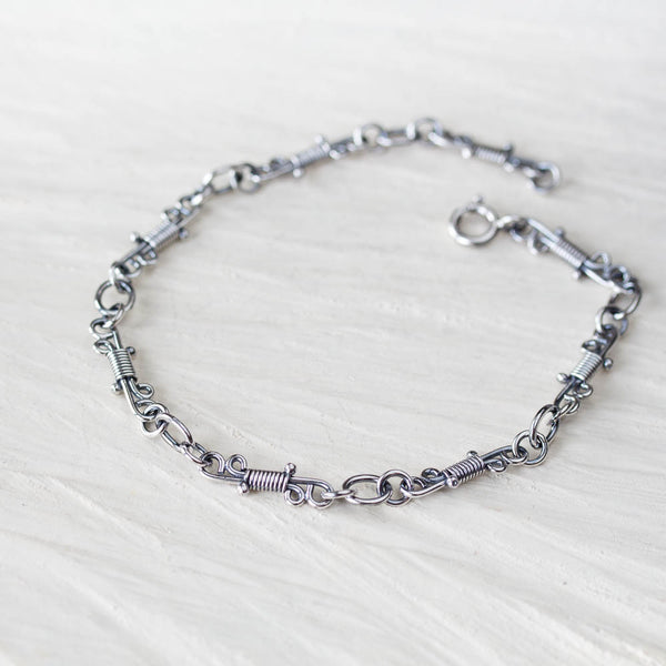 Artisan Wire Wrapped Chain Link Bracelet, Sterling Silver