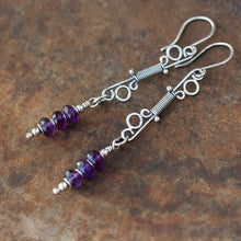 Load image into Gallery viewer, Long Amethyst Earrings, Wire Wrapped Gemstone, Sterling Silver - jewelry by CookOnStrike