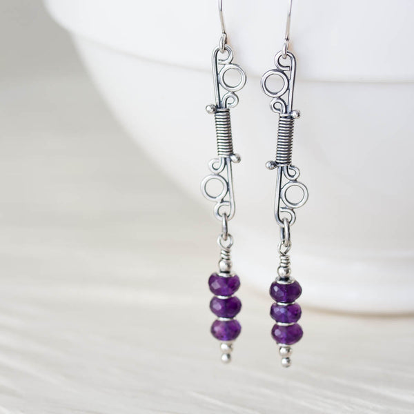Long Amethyst Earrings, Wire Wrapped Gemstone, Sterling Silver - CookOnStrike