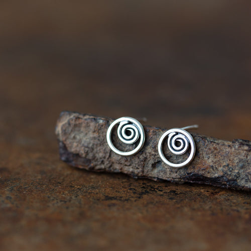 Spiral In A Circle, Sterling Silver Studs - jewelry by CookOnStrike