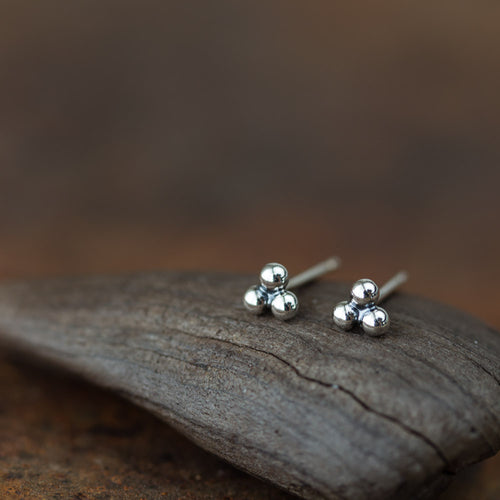 4mm Sterling Silver Stud Earrings, Three Balls - jewelry by CookOnStrike
