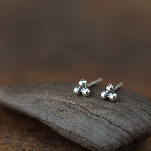4mm Sterling Silver Stud Earrings, Three Balls - CookOnStrike